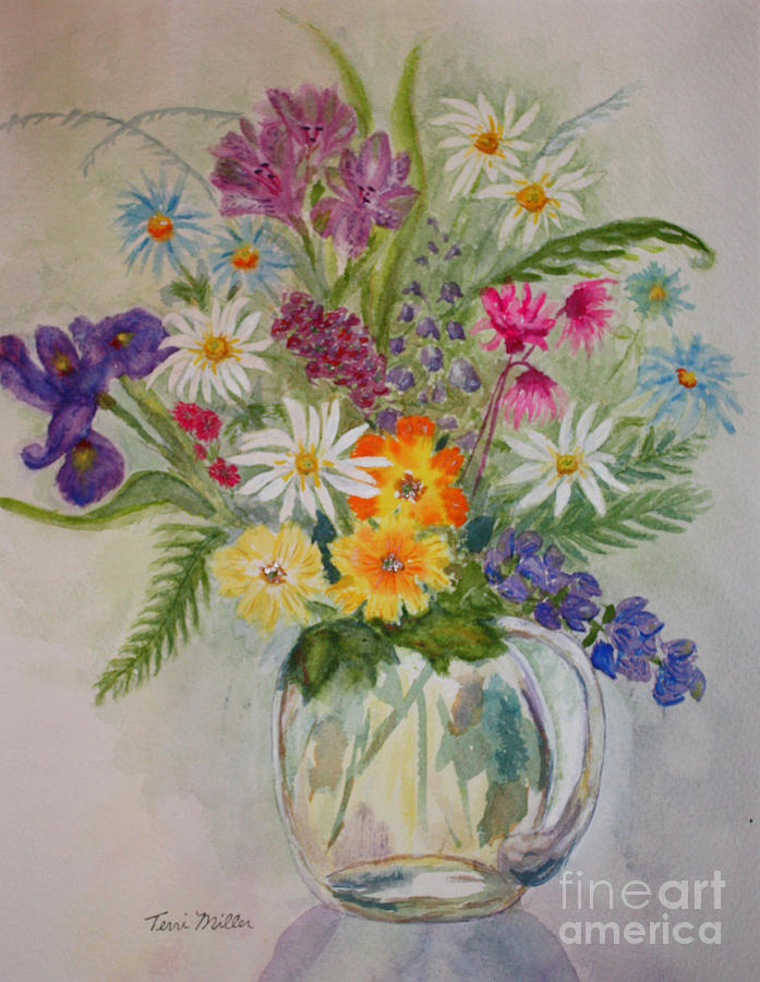 Floral Painting - Summer Flowers In Vase by Terri Maddin-Miller