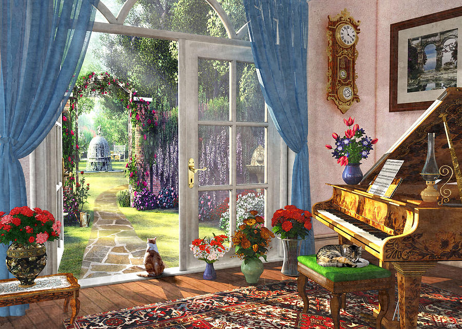 Summer Garden View Painting By Mgl Meiklejohn Graphics