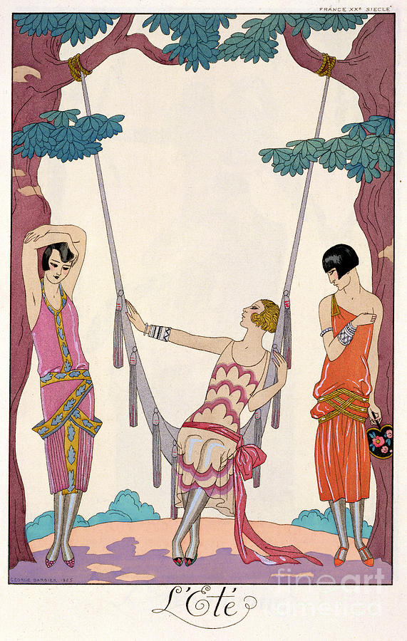 French Fashion Plate Painting - Summer by Georges Barbier
