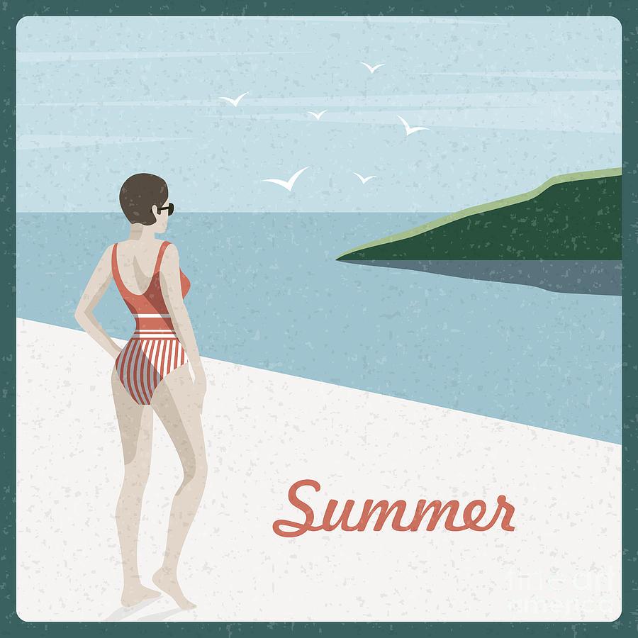 Beauty Digital Art - Summer Holidays Retro Poster Woman The by Antartstock