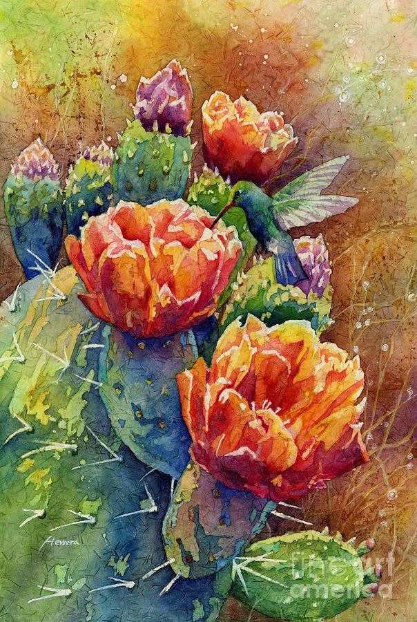 Cactus Painting - Summer Hummer by Hailey E Herrera