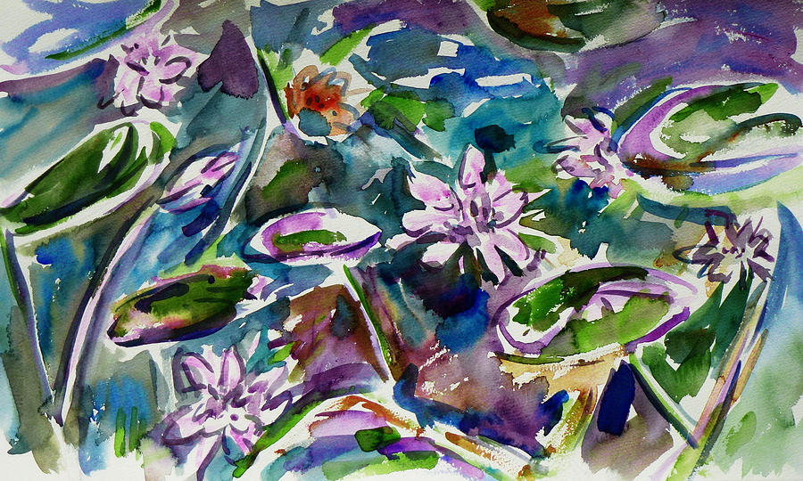 Abstract Painting - Summer Lily Pond by Xueling Zou