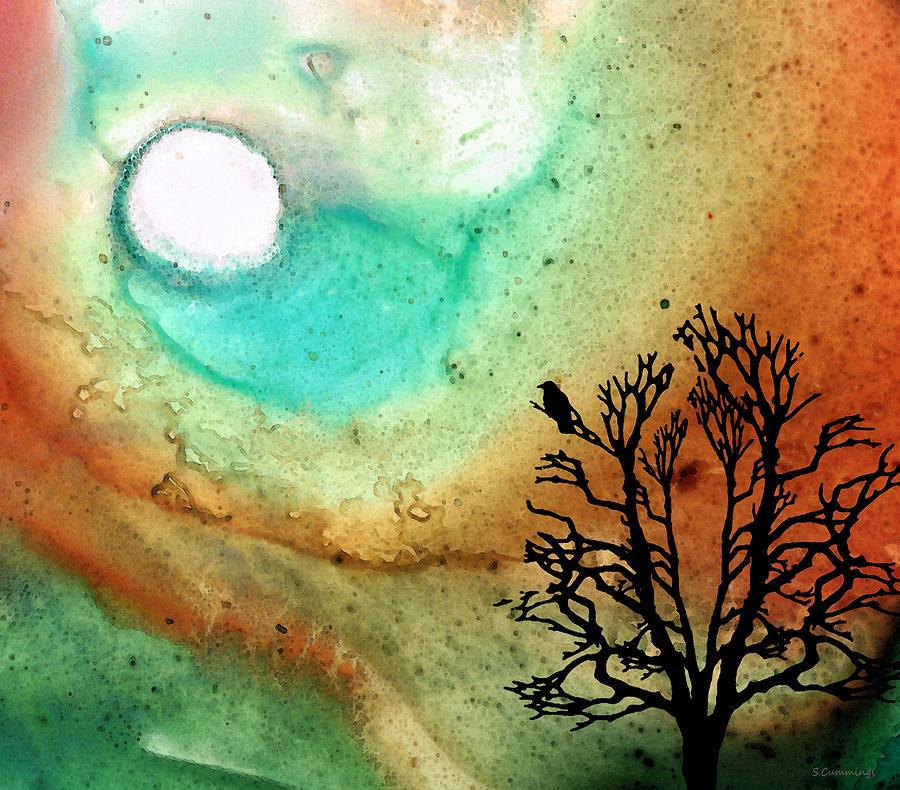 Moon Painting - Summer Moon - Landscape Art By Sharon Cummings by Sharon Cummings