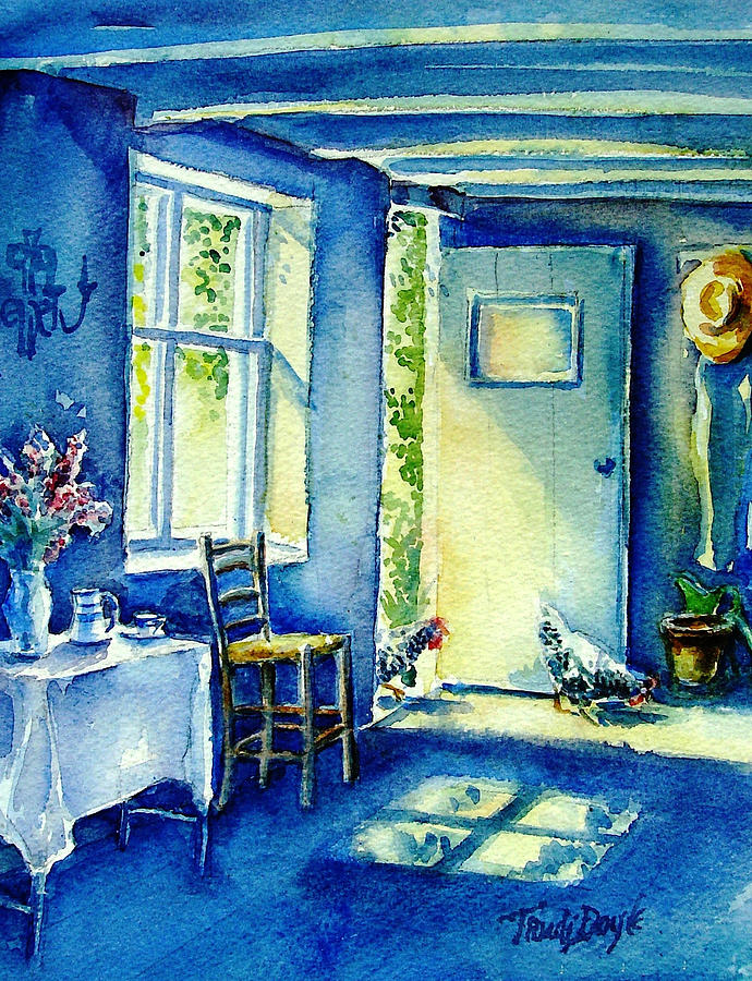 Garden Painting - Summer Morning Visitors  by Trudi Doyle
