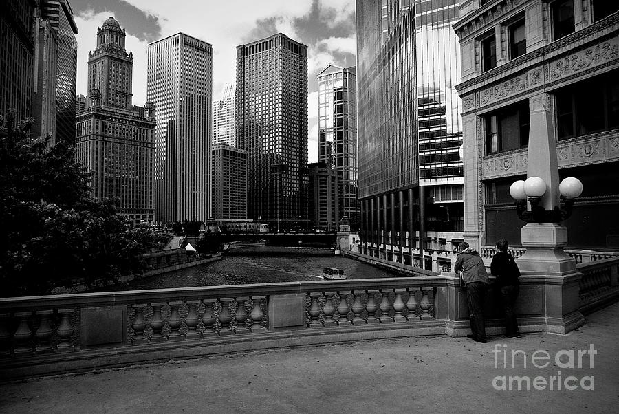 Summer On The Chicago River - Black And White Photograph