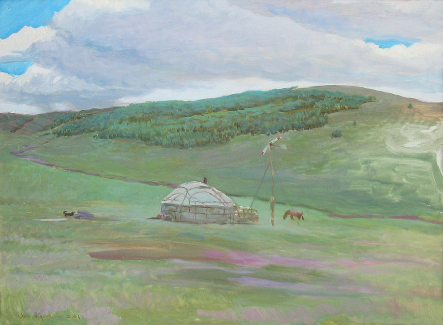 Landscape Painting - Summer Pasture -west Ujumchin Banner by Ji-qun Chen