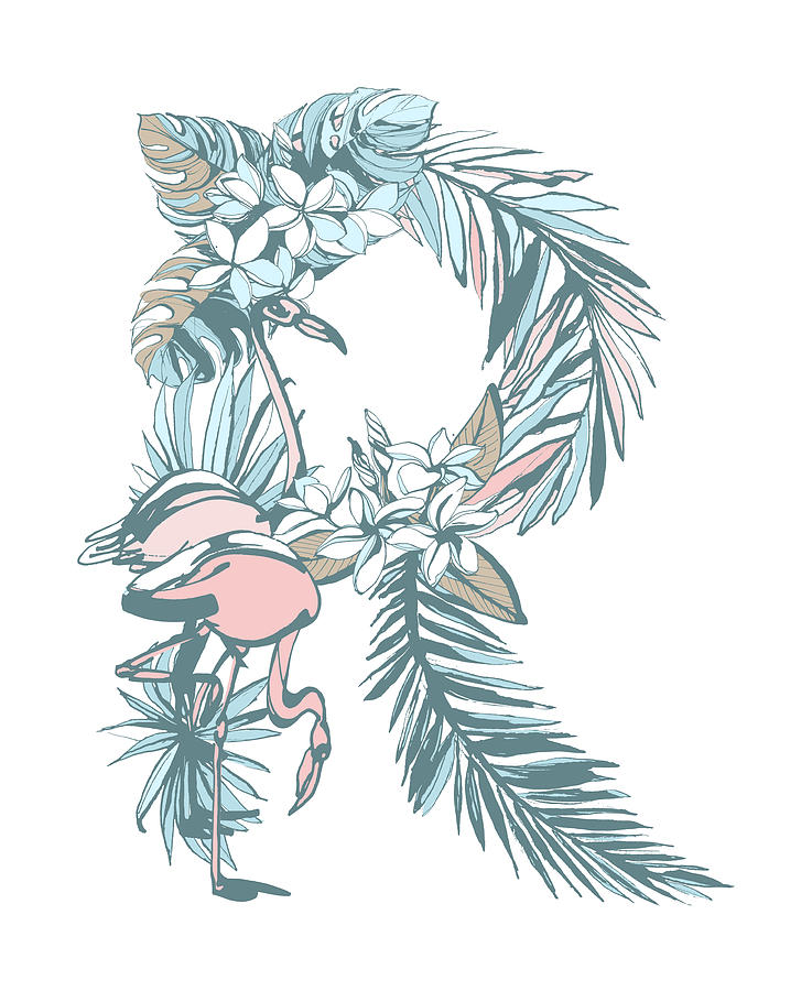 Summer Pattern Hand Drawn Letter R Palm Leaves Flowers Birds By
