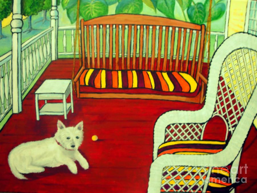 Yellow Mixed Media - Summer Porch by Doreen Kirk