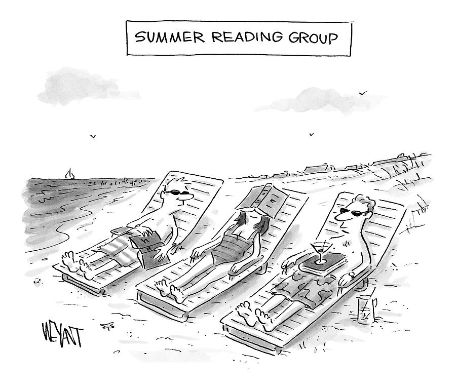 Summer Reading Group -- Three Beach Goers Lounge Drawing by Christopher Weyant