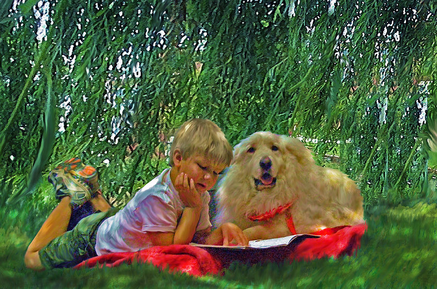 Summer Reading Painting - Summer Reading by Jane Schnetlage