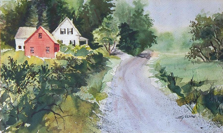 Old House Painting - Summer Road by Joy Nichols