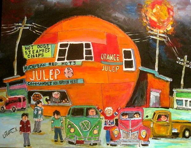 Orange Julep Painting - Summer Sun At The Oj by Michael Litvack