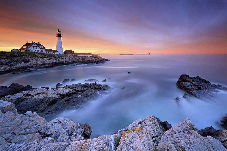 Summer Sunset At The Portland Head Light Photograph by Katherine Gendreau Photography