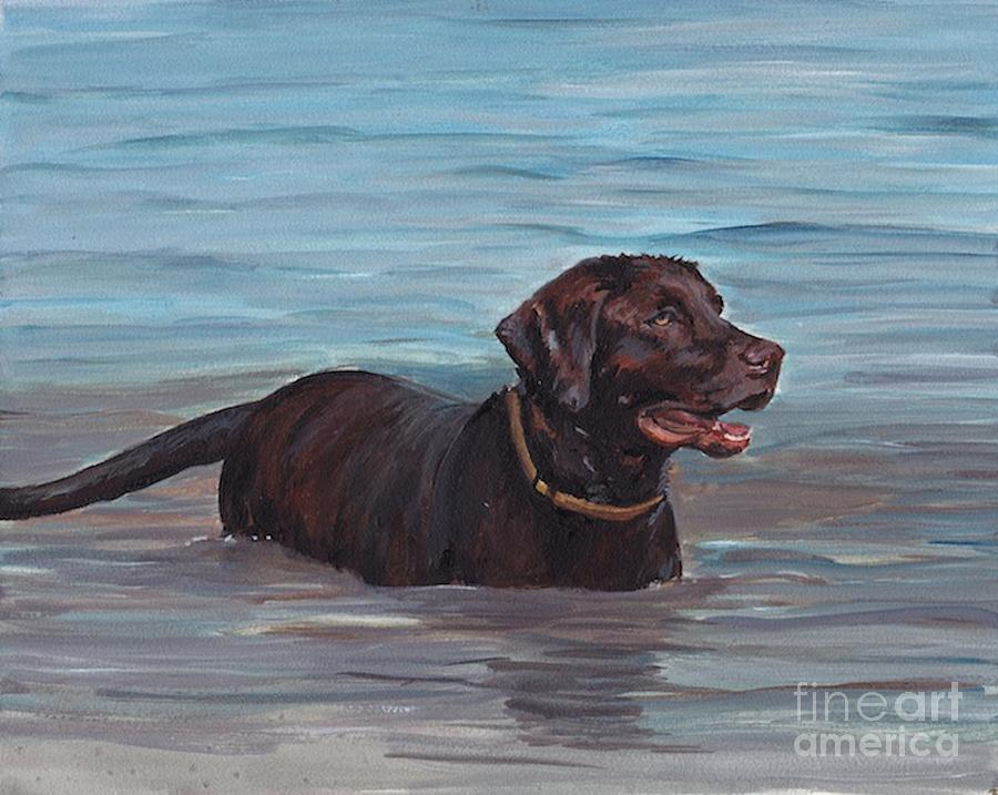 Labrador Retriever Painting - Summer Swim by Charlotte Yealey