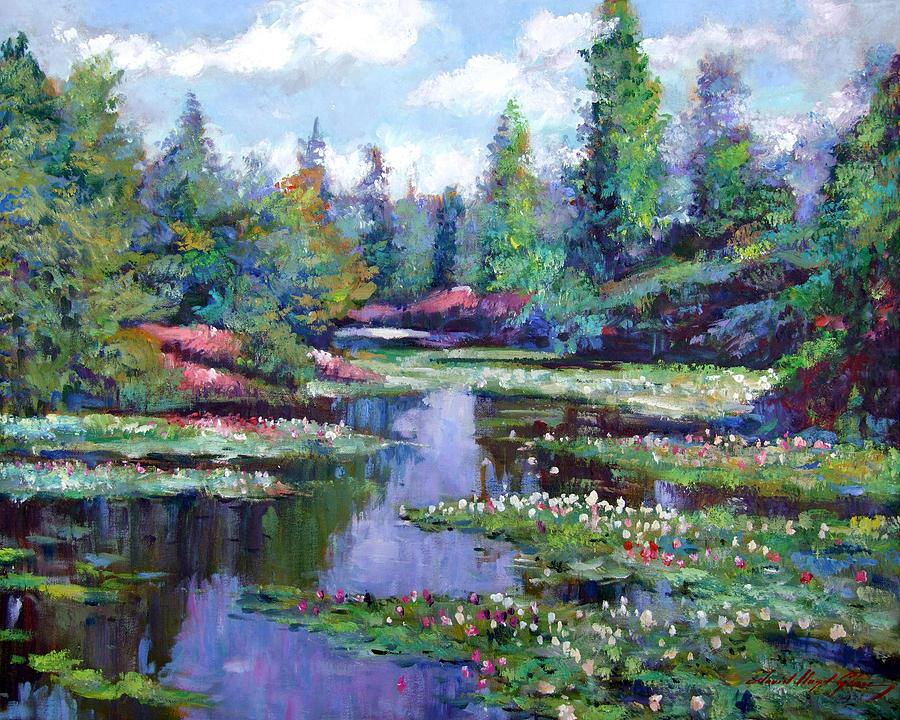 Impressionism Painting - Summer Waterlilies by David Lloyd Glover