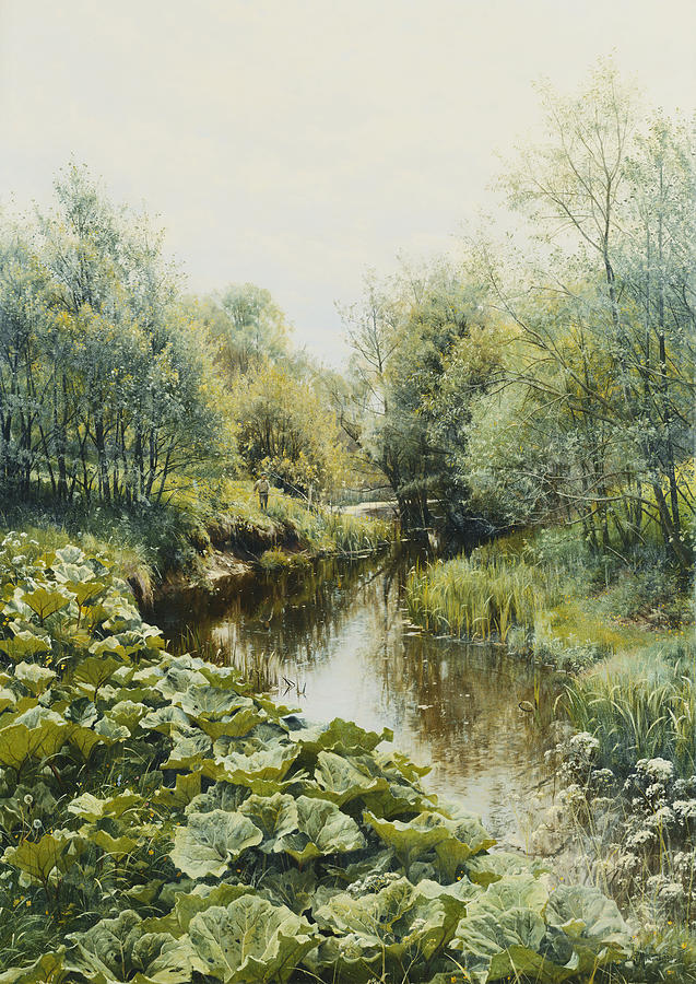 1900s Painting - Summerday At The Stream by Peder Monsted