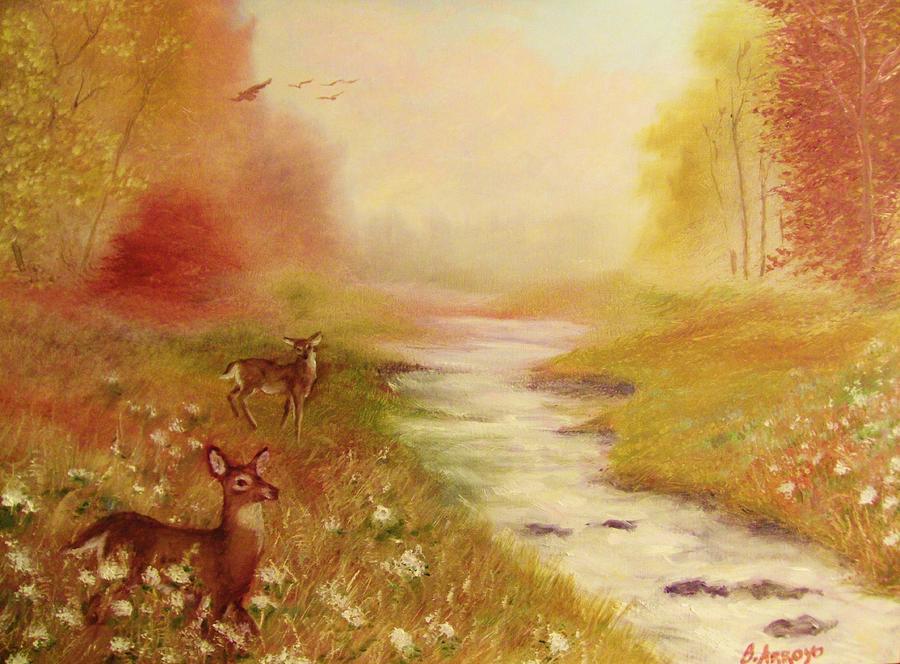 Deer Painting - Summers End by Beth Arroyo