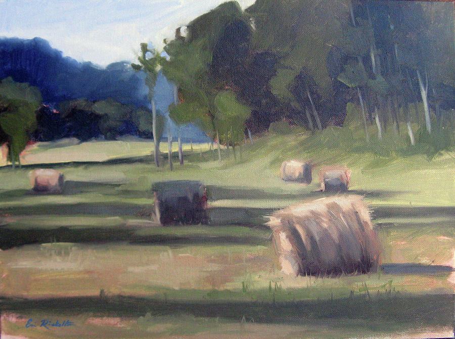 Haystacks Painting - Summers Shade by Erin Rickelton