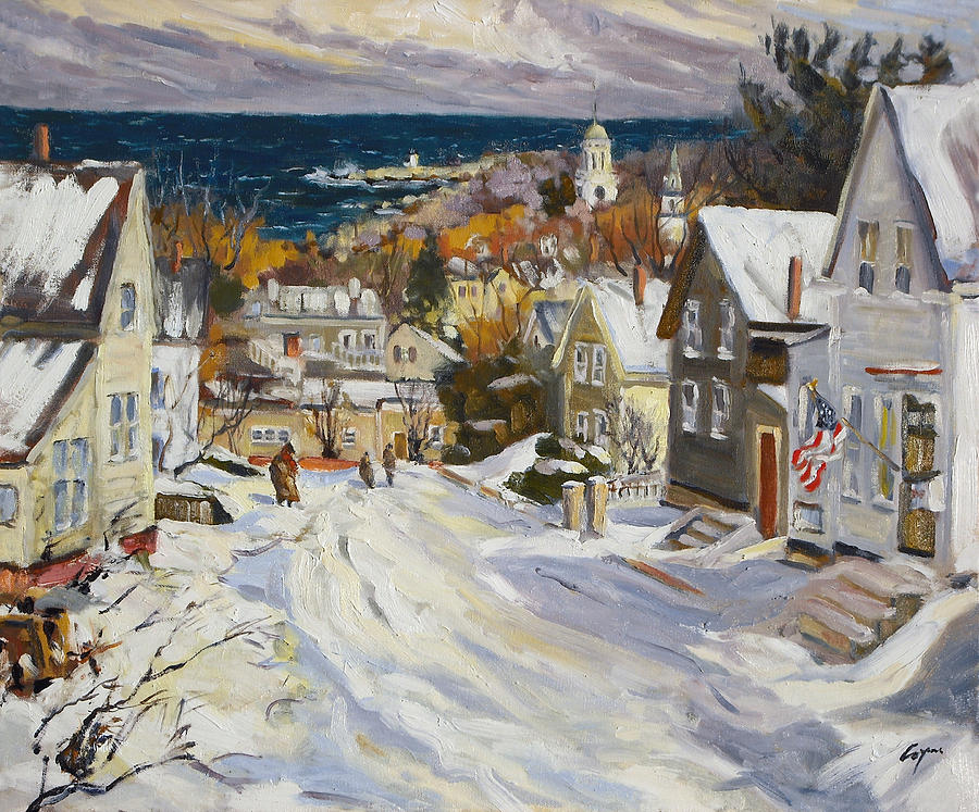 Snow Painting - Summit Avenue In Winter by Chris Coyne
