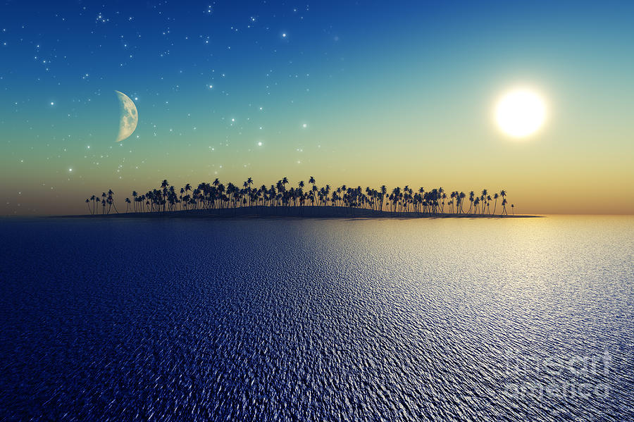 Islands Digital Art - Sun And Moon by Aleksey Tugolukov