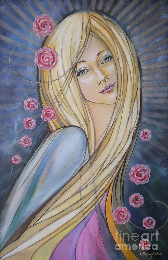 Female Painting - Sun And Roses 081008 by Selena Boron