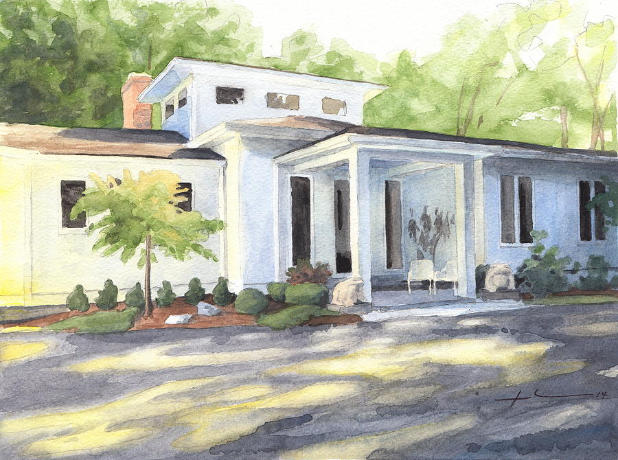 Sun And Shadow House Watercolor Portrait Drawing by Mike Theuer