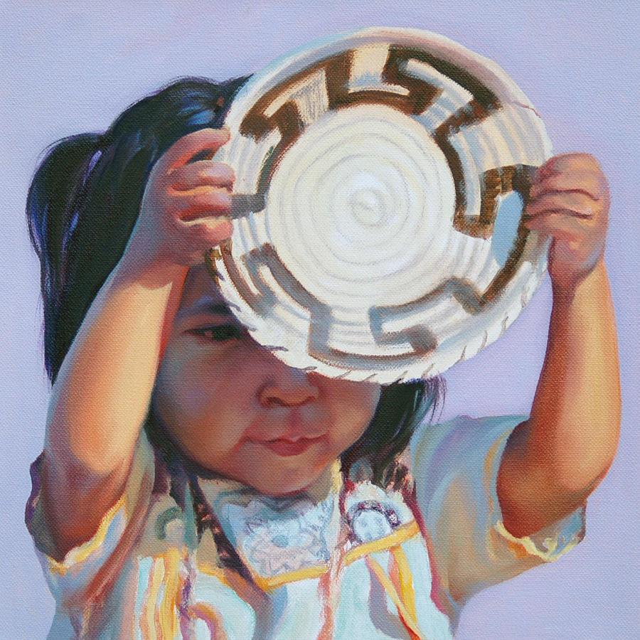 Native American Painting - Sun and Shield by Christine Lytwynczuk