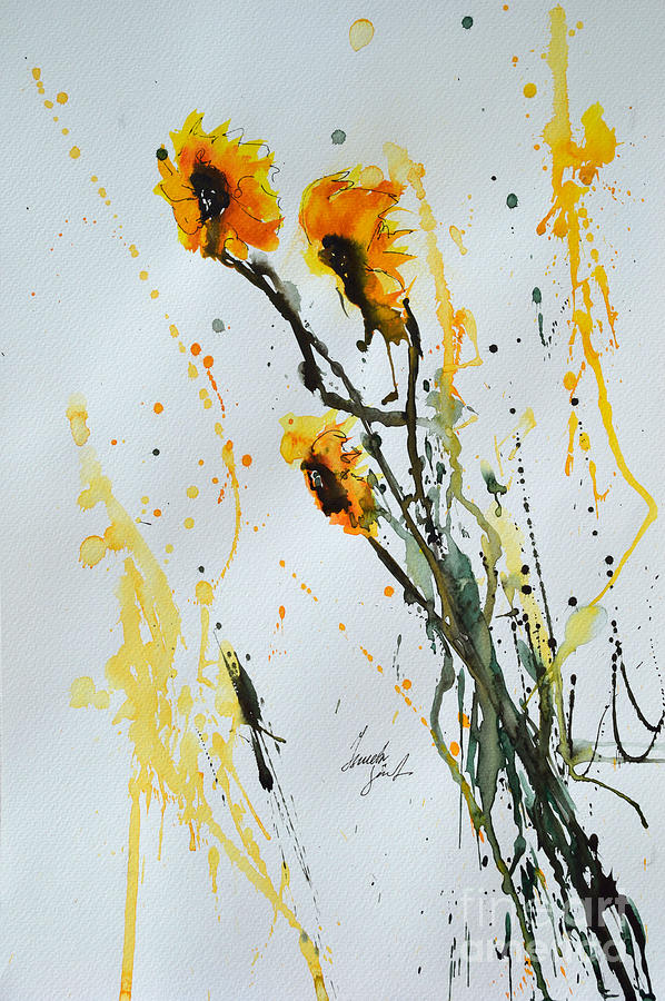 Sunflowers Painting - Sun-childs- Flower Painting by Ismeta Gruenwald