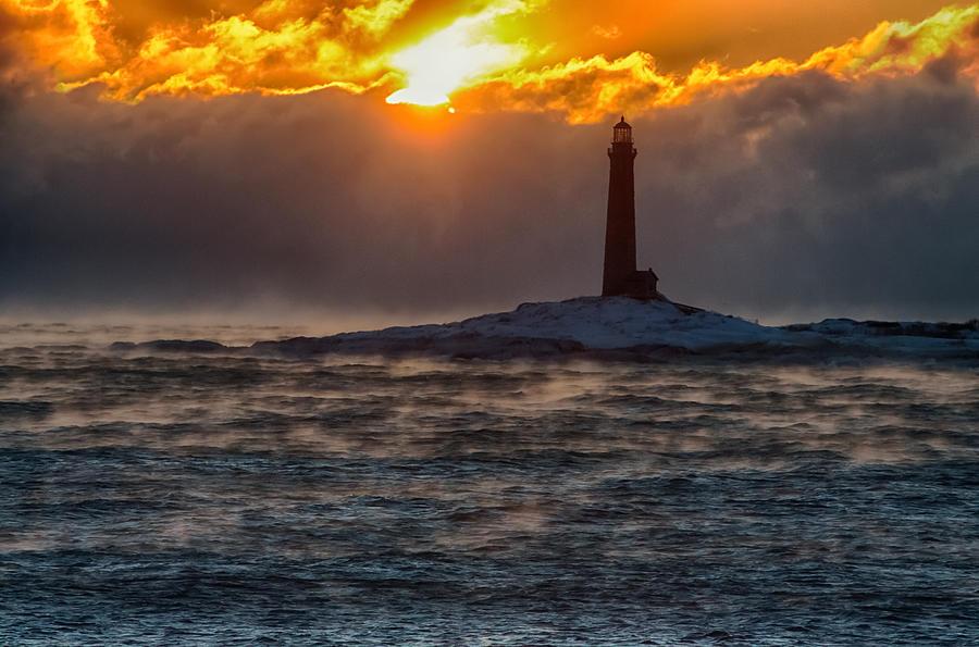 Sun Climbing Over Thacher Island Lighthouse Photograph