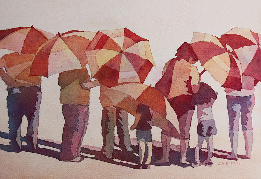 Parasol Painting - Sun Drenched Parasols  by Jenny Armitage