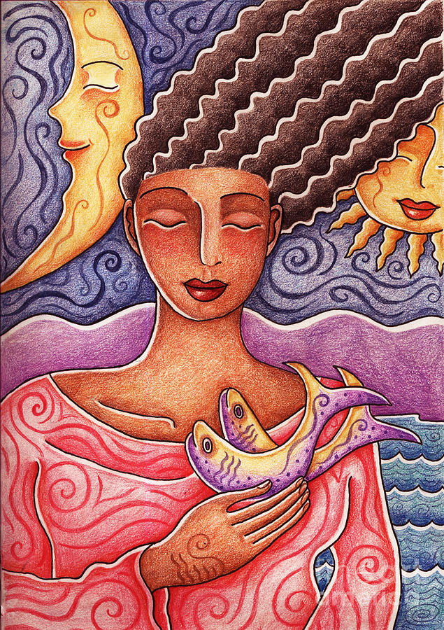 Woman Drawing - Sun Fish Moon by Elaine Jackson