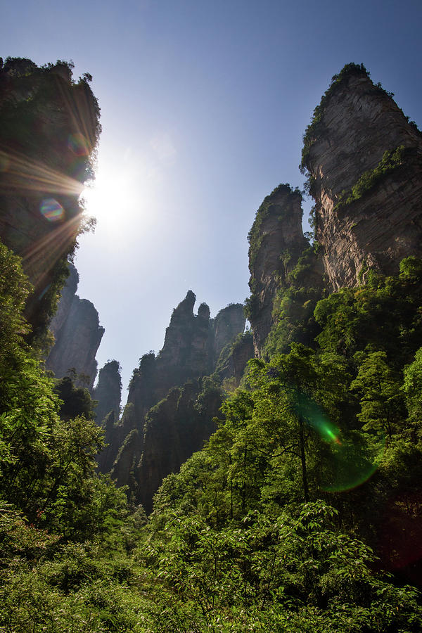 Sun Flare In Zhangjiajie Canyon Photograph by Universal Stopping Point Photography