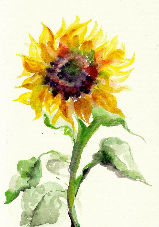 Sunflower Watercolor Painting By Tiberiu Soos