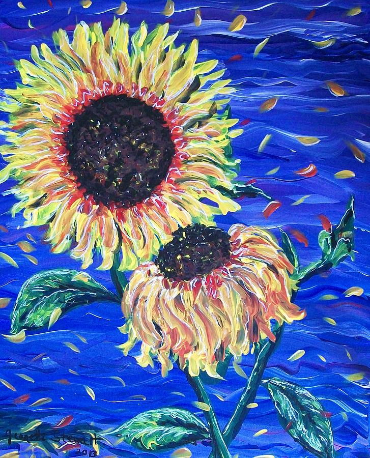Sun Flower Painting - Sun Flowers And Wind by Jeanette Stewart