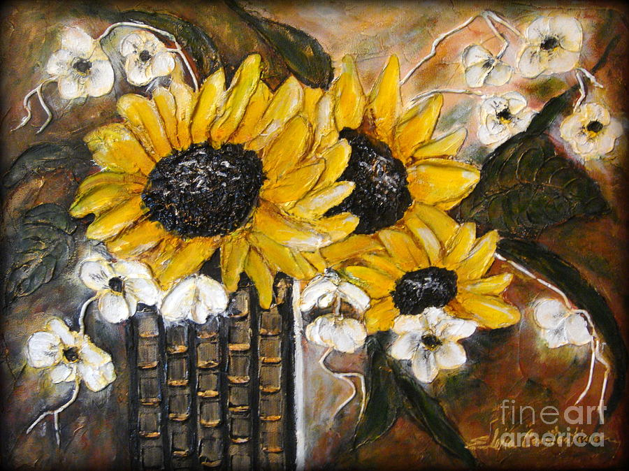 Sun Flowers Painting - Sun Flowers by Elena  Constantinescu