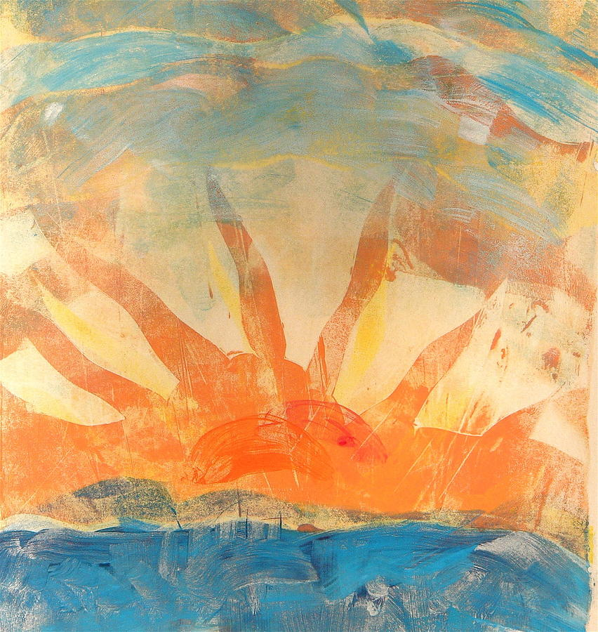 Monotype Painting - Sun Four by Valerie Lynch