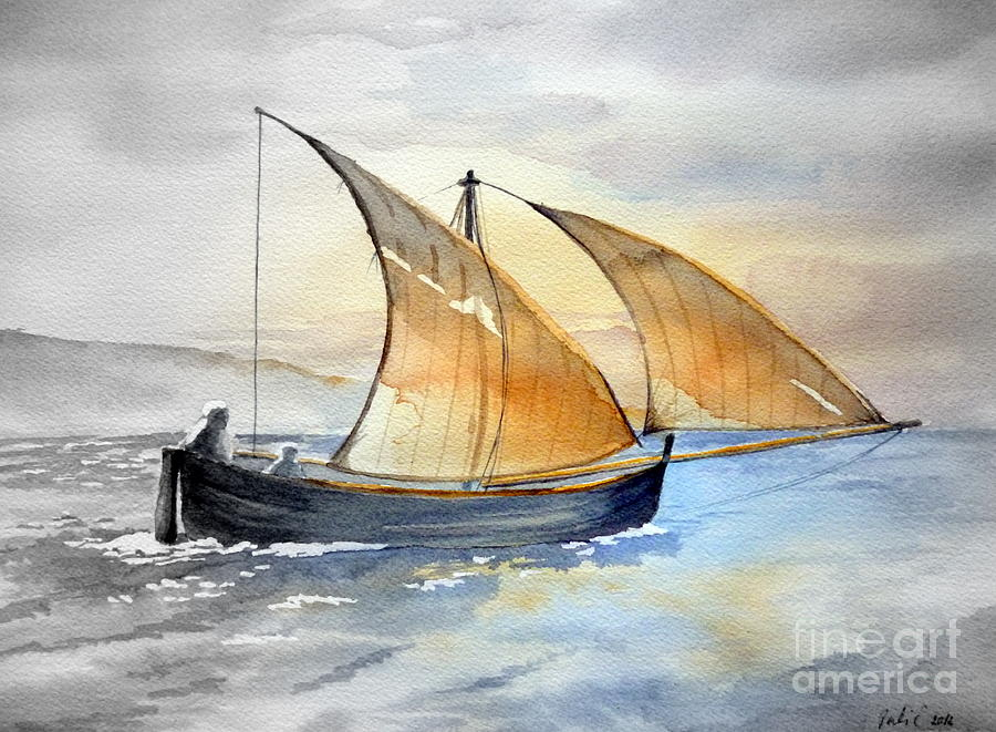 Boat Painting - Sun In The Sails  by Eleonora Perlic