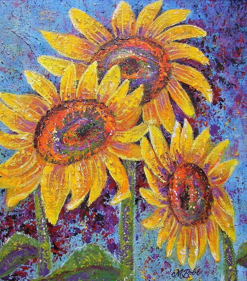 Sunflowers Painting - Sun-kissed Beauties by Margaret Bobb