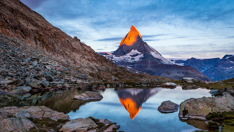 Matterhorn Photograph - sun kissed Matterhorn by Margarethe Jaeger