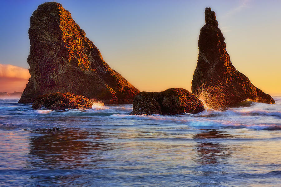 Ocean Photograph - Sun Kissed Sea Stacks by Ray Still