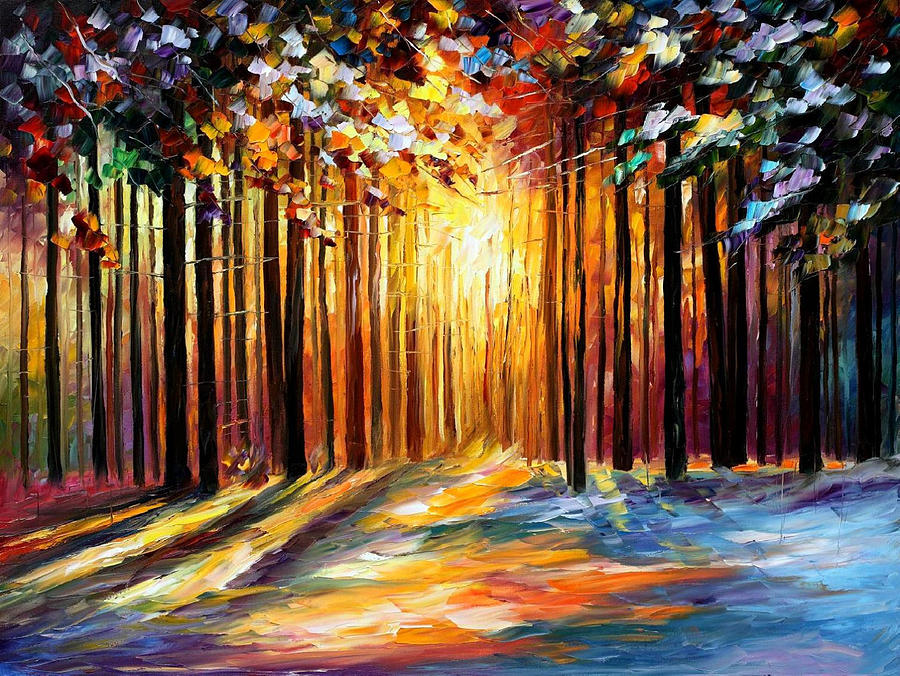 Leonid Afremov Painting - Sun Of January - PALETTE KNIFE Landscape Forest Oil Painting On Canvas By Leonid Afremov by Leonid Afremov