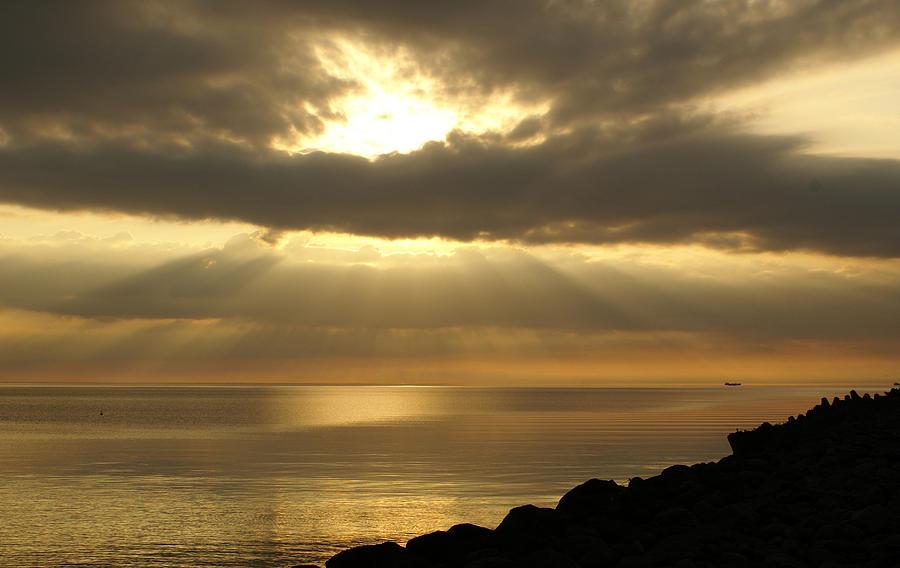 Calm Photograph - Sun Rays / Sea Pier by Gynt