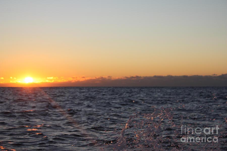 Sun Rising Through Clouds In Rough Waters Photograph - Sun Rising Through Clouds In Rough Waters by John Telfer