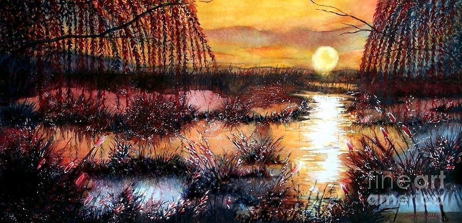 Marsh Painting - Sun Sets On The Marsh by Janine Riley