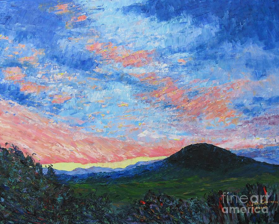 Landscape Painting - Sun Setting Over Mole Hill - Sold by Judith Espinoza