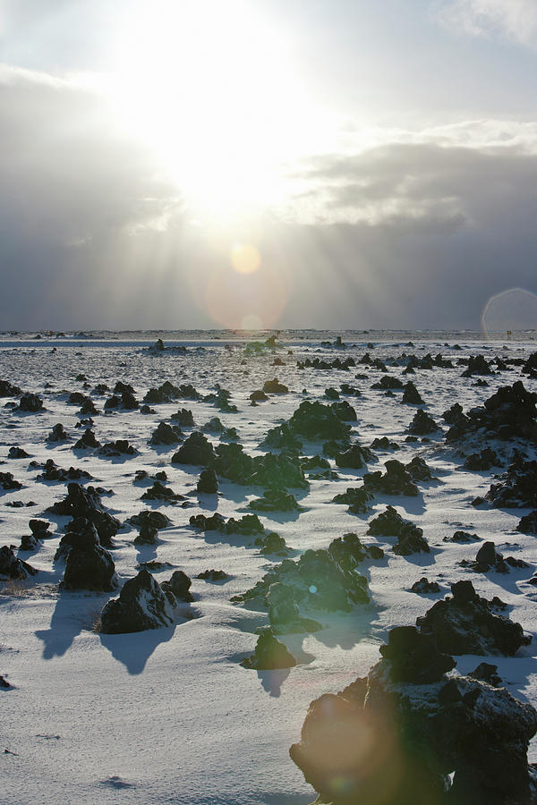 Sun Shining On A Field Of Lava Rocks Photograph by Thomas Kokta