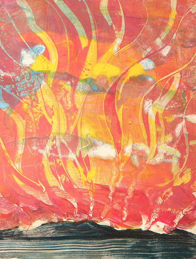 Fire Painting - Sun Six by Valerie Lynch