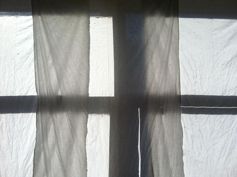 Window Photograph - Sun Up Through Lukes Curtains by Anna Villarreal Garbis