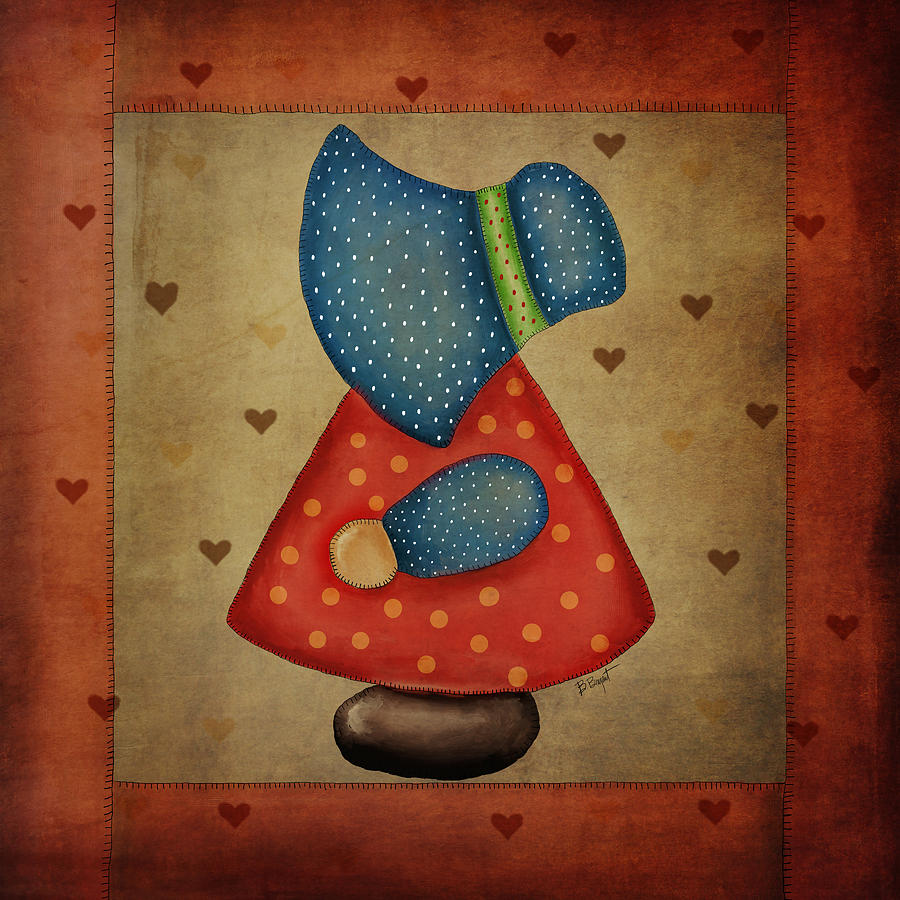 Quilt Digital Art - Sunbonnet Sue In Red And Blue by Brenda Bryant