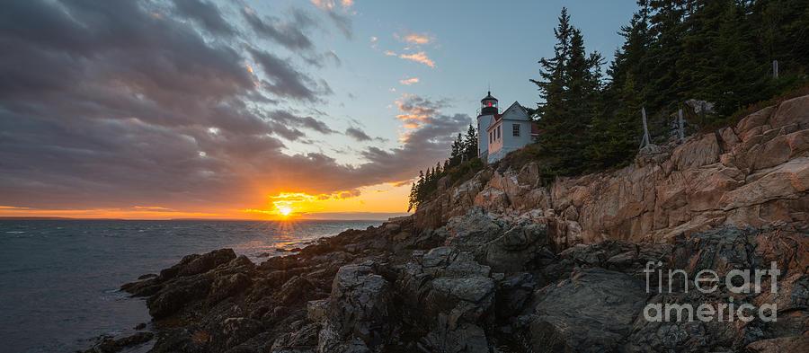 Bass Harbor Head Lighthouse Photograph - Sunburst At Bass Harbor Lighthouse  by Michael Ver Sprill